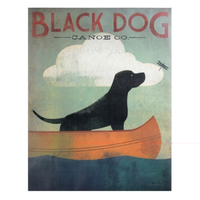 Black Dog Canoe Canvas Art Print