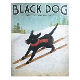 Black Dog Ski Canvas Art Print