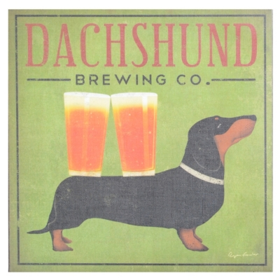 Dachshund Brewing Canvas Art Print