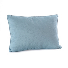 Blue Embossed Scroll Oblong Pillow