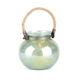 Green Foil Glass Lantern, 7 in.