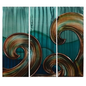 Aqua Blue Waves Metal Plaque, Set of 3