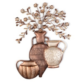 Bronze Floral Urns Metal Wall Art
