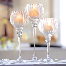 Clear Fluted Glass Charisma, Set of 3