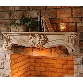Ornate Cream Mantel Wall Shelf, 48 in.
