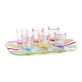 Colorful Shot Glasses & Serving Tray