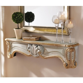 Teal & Gold Mantle Wall Shelf, 48 in.