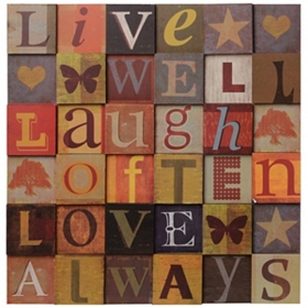 Live Laugh Love Squares Wall Plaque