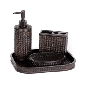 Dark Bronze Bamboo 4-Piece Bath Accessory Set