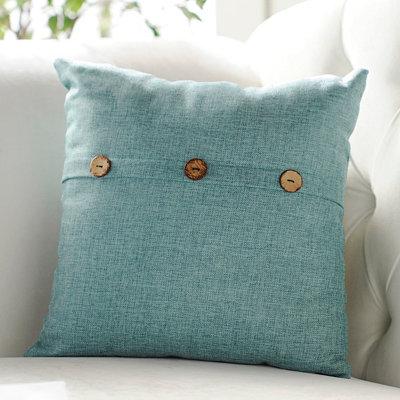 Aqua Buttoned Linen Pillow