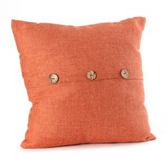 Spice Buttoned Linen Pillow