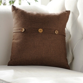 Brown Buttoned Linen Pillow