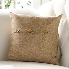 Tan Buttoned Linen Pillow