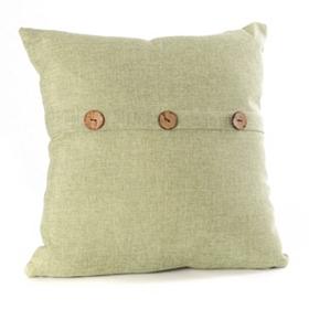 Sage Buttoned Linen Pillow