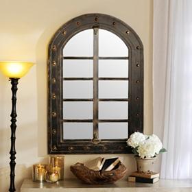 Black & Gold Distressed Arch Mirror, 32x48
