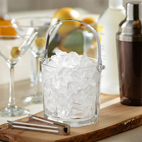 Glass & Metal Ice Bucket with Tongs