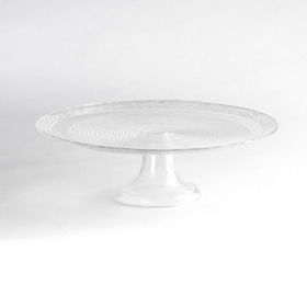 Ringed Glass Cake Stand
