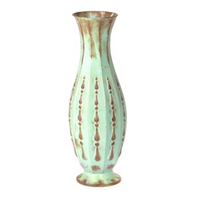 Teal Breeze Distressed Metal Vase