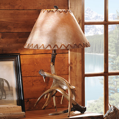 Antler Table Lamp with Faux Leather Shade