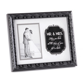 Mr & Mrs Wedding Sentiment Photo Frame, 4x6