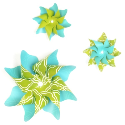 Turquoise & Green Pinwheel Wall Art, Set of 3