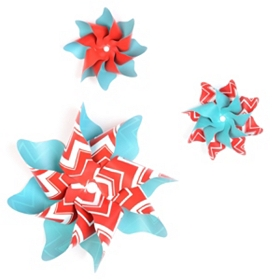 Turquoise & Red Pinwheel Wall Art, Set of 3