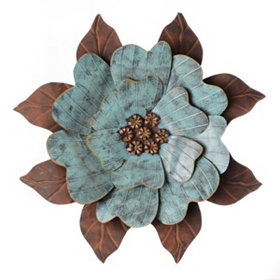 Turquoise Bloom Metal Wall Art