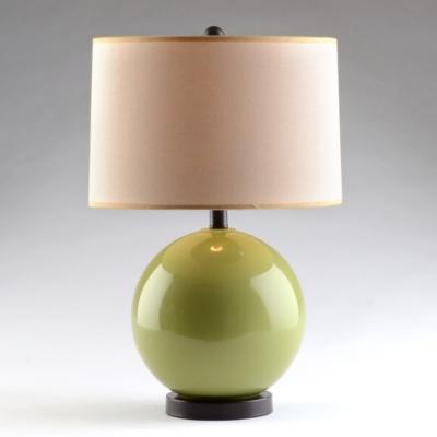 Green Glass Orb Table Lamp