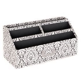 Black & White Damask Desk Organizer