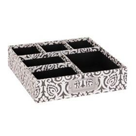 Black & White Damask Organizer Tray
