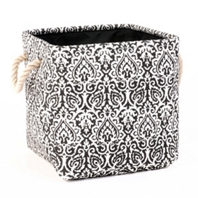 Black Damask Storage Bin with Rope Handles, Small