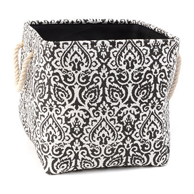 Black Damask Storage Bin with Rope Handles, Medium