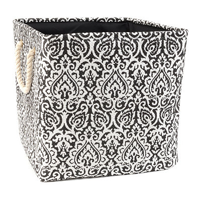 Black Damask Storage Bin with Rope Handles, Large
