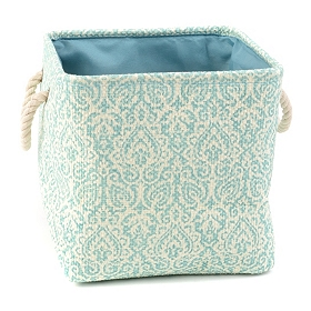 Blue Damask Storage Bin with Rope Handles, Small