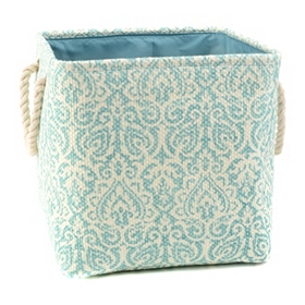 Blue Damask Storage Bin with Rope Handles, Medium