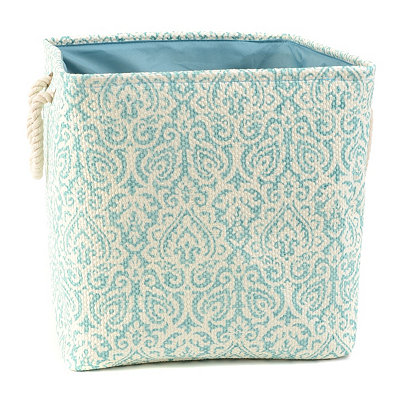 Blue Damask Storage Bin with Rope Handles, Large