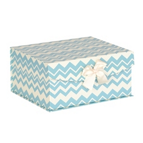 Blue Chevron Storage Box, Small