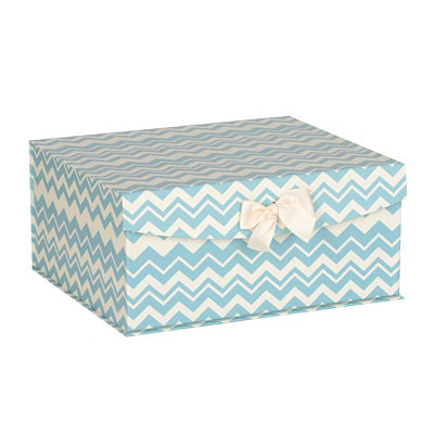 Blue Chevron Storage Box, Medium