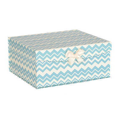Blue Chevron Storage Box, Large