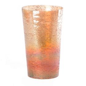 Pompeii Amber Glass Crackle Vase