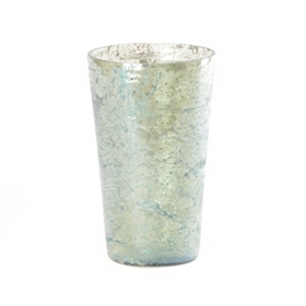 Pompeii Green Glass Crackle Vase