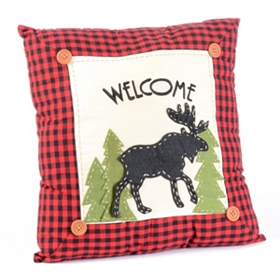 Homespun Moose Decorative Pillow