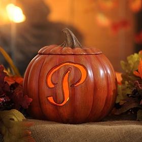 Pre-Lit Monogram P Pumpkin