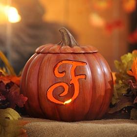 Pre-Lit Monogram F Pumpkin