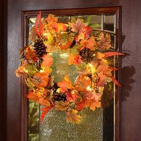 Pre-Lit Pumpkin & Pine Cone Wreath