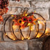 Pre-Lit Woven Twig Pumpkin Wall Plaque