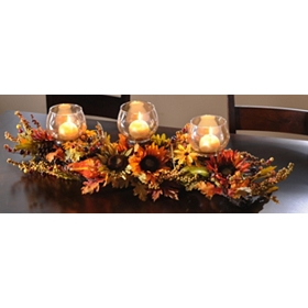 Sunflower & Berries Candle Centerpiece