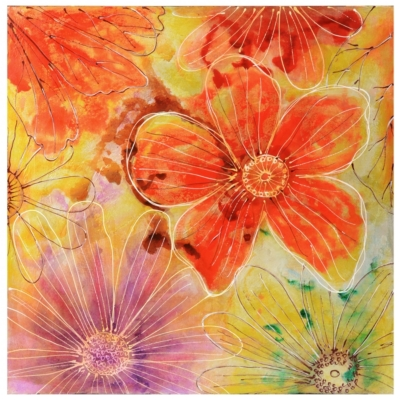Vibrant Foil Flowers Canvas Art Print