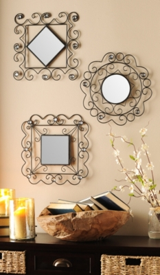 Scrolled Metal Accent Mirror, Set of 3