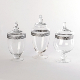 Silver Band Apothecary Jars, Set of 3